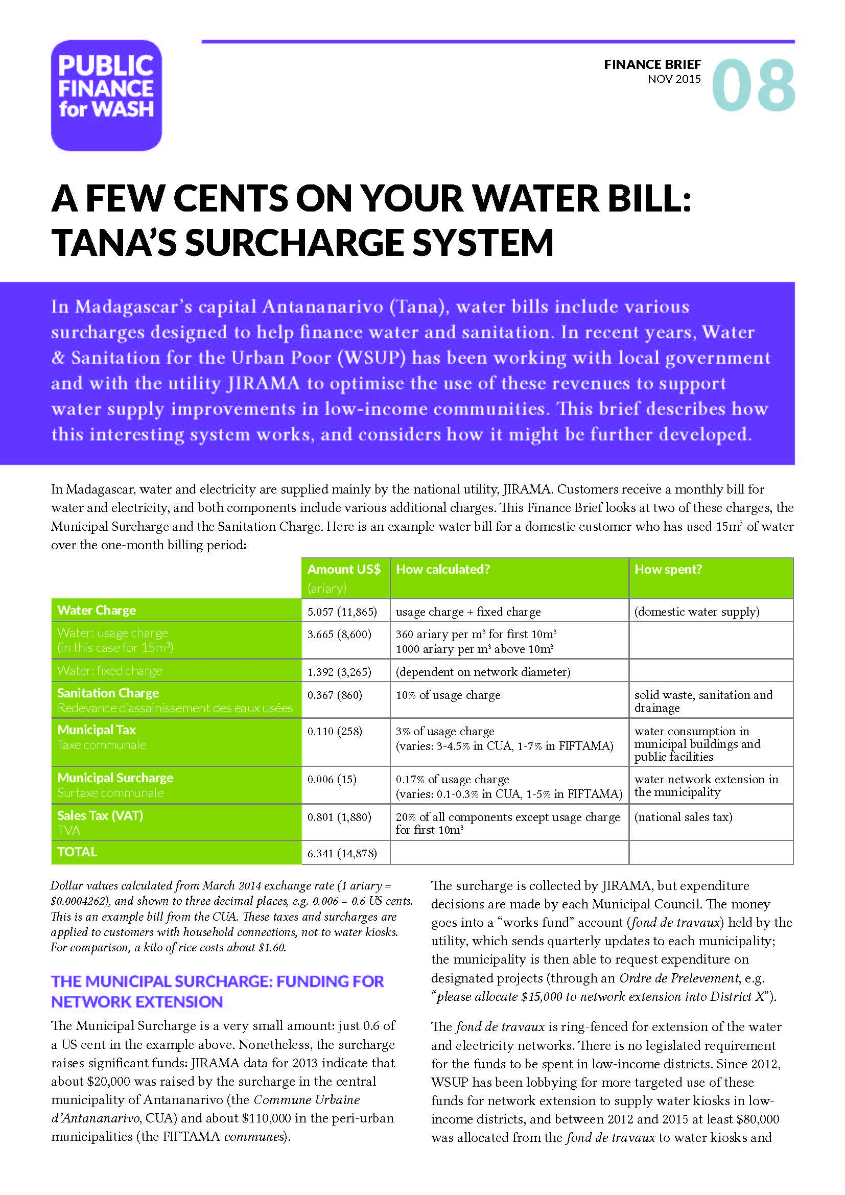 Finance Brief 8: A few cents on your water bill: Tana's surcharge